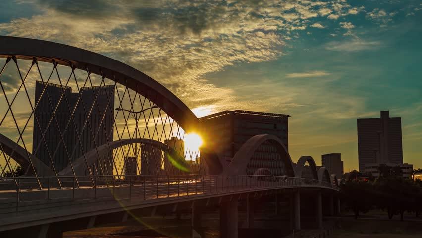 Fort Worth Sunrise w/ 7th st. bridge time-lapse