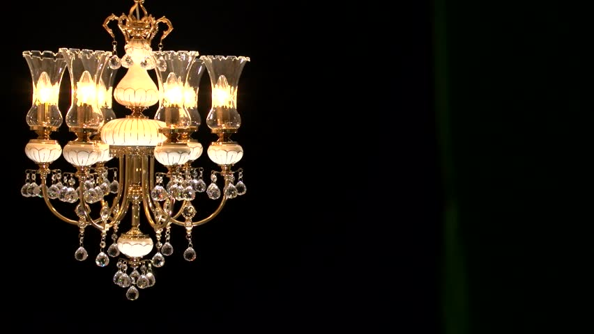 Crystal Chandelier On Black Background Stock Footage Video 7111363 ...