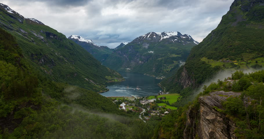 4K Norway Mountains And Fjord View - Clouds Time Lapse Geirangerfjord,  Stranda, Norway | Shutterstock HD Video #11151671