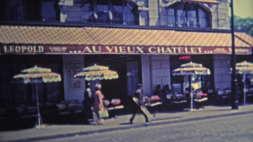 PARIS, FRANCE - 1969: Scenes around Paris of popular restaurants and from above the city.