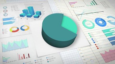 70 percent Pie chart with various economic finances graph version 2.(no text)