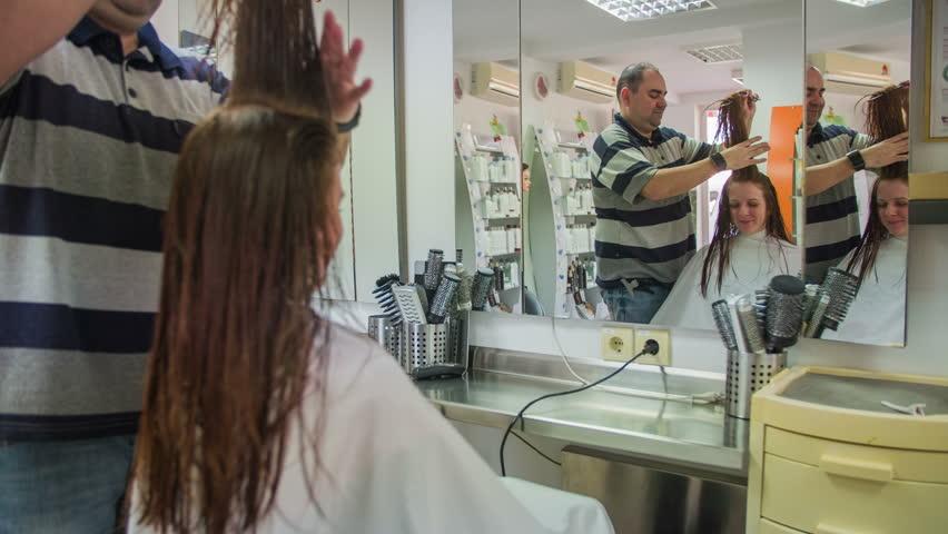 Man Comb Female Hair Upwards At Salon 4k Visiting Hairdresser T Long