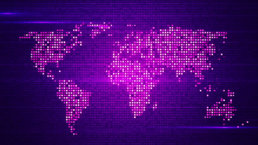 Digital world map in led screen with light dots loop animation animation of flicker and slow motion particles in digital world map abstract background of technology sciox Image collections
