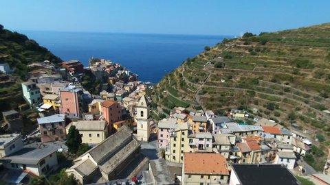 flying over Manarola of Cinque Terre, Italy
