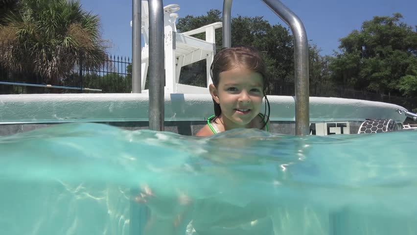 Young Girl Dancing While Brother Jumping In The Swimming Pool In Slow Motion At 500 -6332