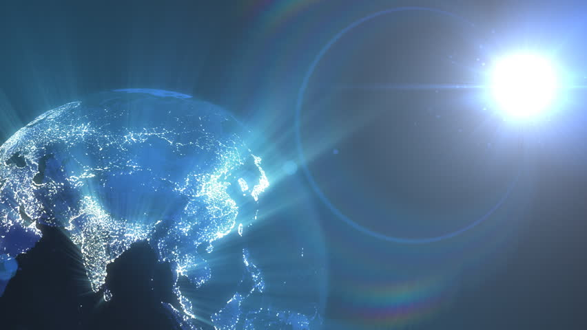 Bright blue technology background with world map series 3 spinning earth with light rays emerging from city lights and sun setting seamless loop sciox Image collections