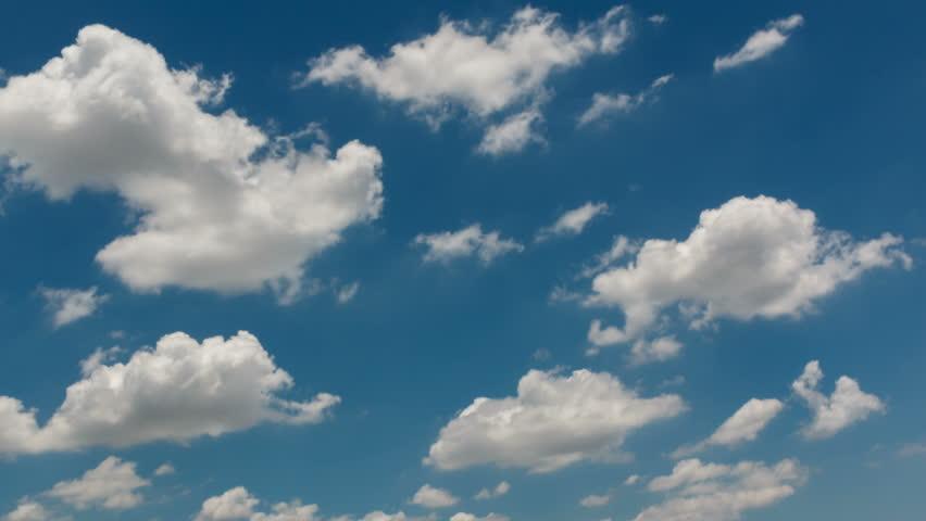 Time lapse of blue sky with clouds, 4K