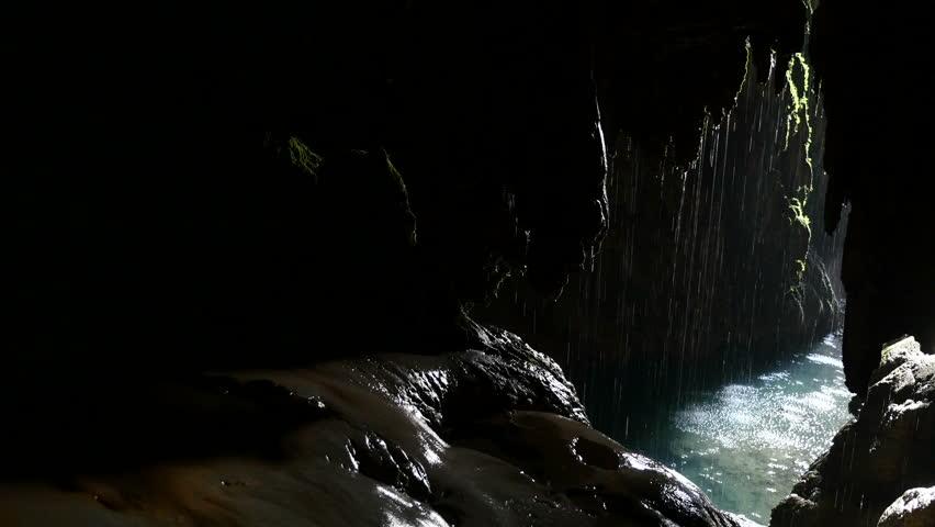 indoor waterfall cave ponytail Natural Park Monasterio de Piedra, Zaragoza, Aragon, Spain, in August 2015.