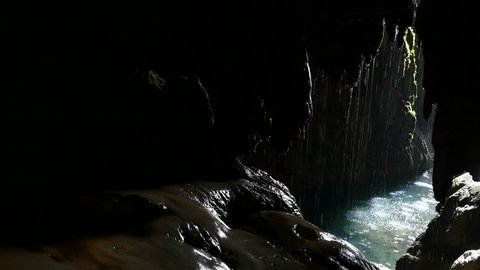 indoor waterfall cave ponytail Natural Park Monasterio de Piedra, Zaragoza, Aragon, Spain, in August 2015.