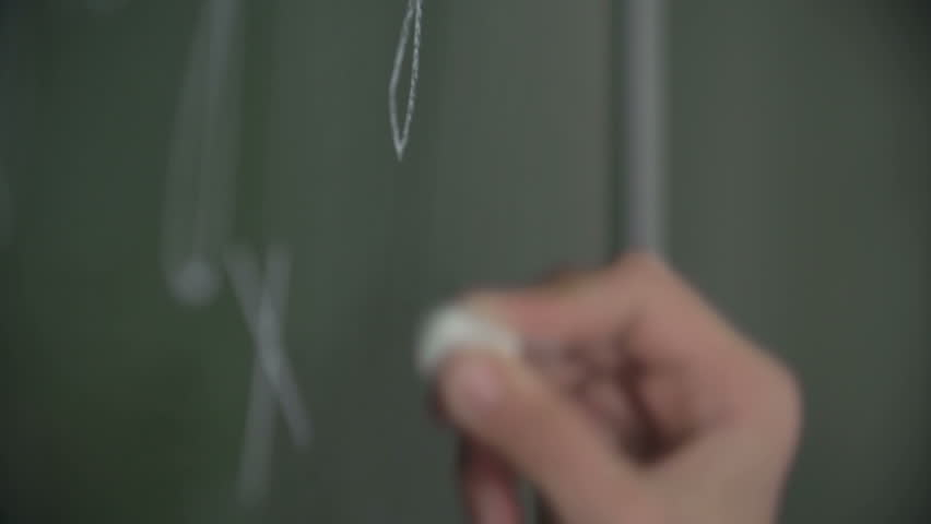 Hand of pupil solving equation on chalkboard    Shutterstock HD Video #11312546