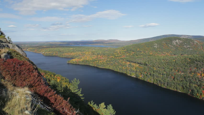 Panning view of Echo Lake and Acadia Mountain in Autumn, Acadia National Park, Maine.