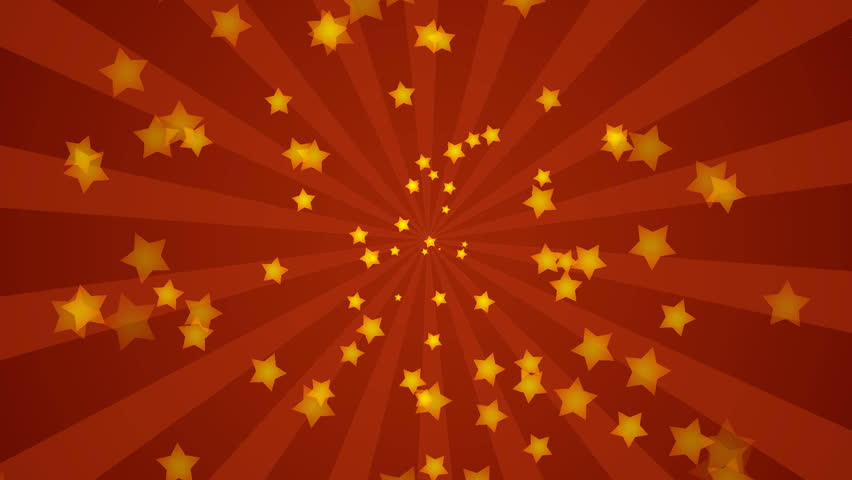 Explosion of stars over red background, HD CG animation