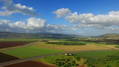 JEZREEL VALLEY, ISRAEL - CIRCA MARCH 2015: Aerial of the Jezreel Valley.