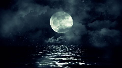Full Moon Above Water with Clouds