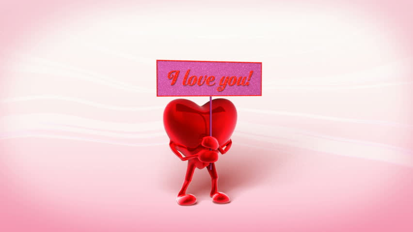 """Heart waving with the sign """"I Love You"""" written on it.The clip is loopable.   Shutterstock HD Video #114082"""