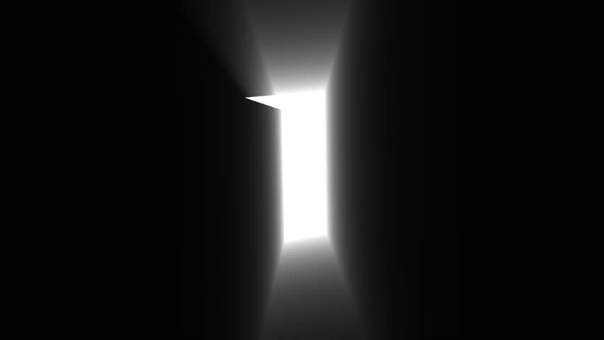 A Door Opening To Dark Room With Bright Light Shining In