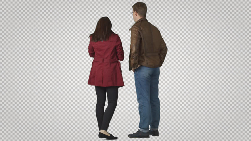 Man & girl stands in winter clothes. Back view. Cut out on transparent background. File format - .mov. Codec - PNG+Alpha. Combine these footage with your background or other people | Shutterstock HD Video #11462069