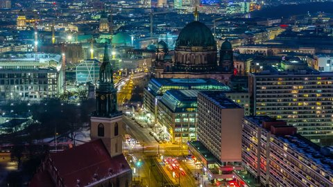 Berlin Skyline City Timelapse with Traffic on Street at evening near Alexanderplatz. 4K Timelapse sequence.