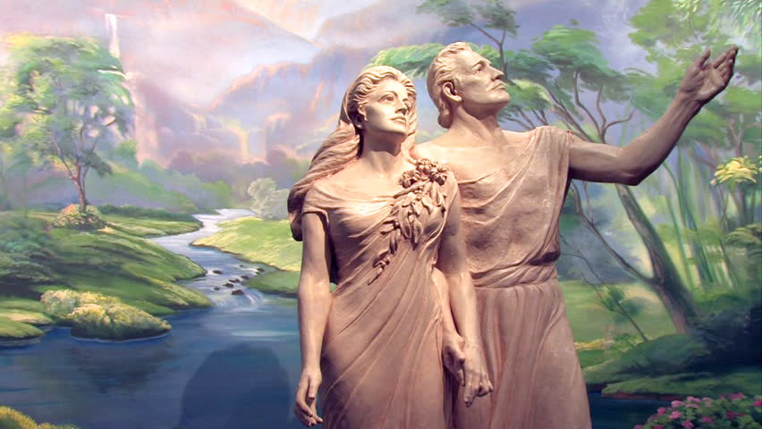 Video slow pan of statue of Adam and Eve in the Garden of Eden. Visitor Center of the Church of Jesus Christ of Latter-Day Saints, Mormon. Salt Lake City Utah.