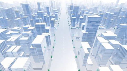 3D City model fly through.