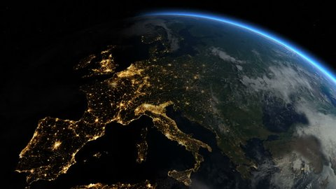 At night over Europe. The European states from space. Clip contains earth, europe, night, space, map, globe, satellite, planet, european, european union. Images from NASA.