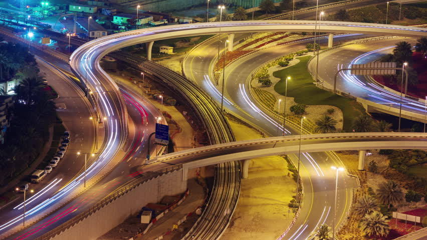 Dubai city night illumination traffic road junction 4k time lapse uae | Shutterstock HD Video #11521082