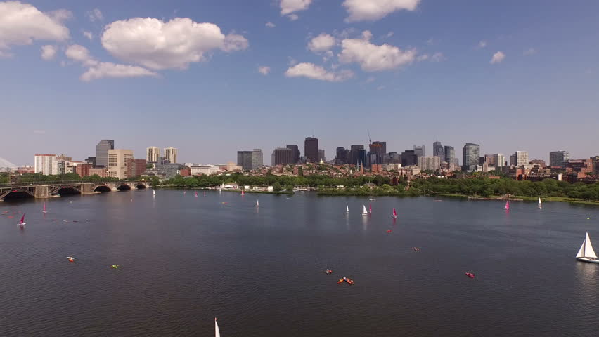 Boston Aerial v33 Flying very low over Charles River and Beacon Hill towards downtown.