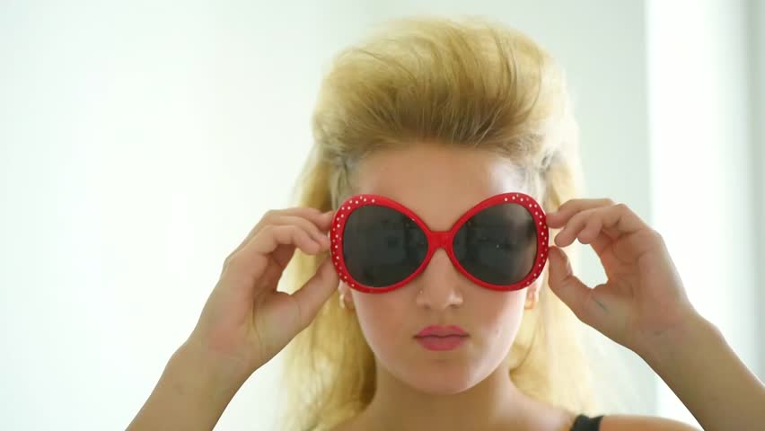 Beautiful Blonde Girl With Rocker Stock Footage Video 100 Royalty