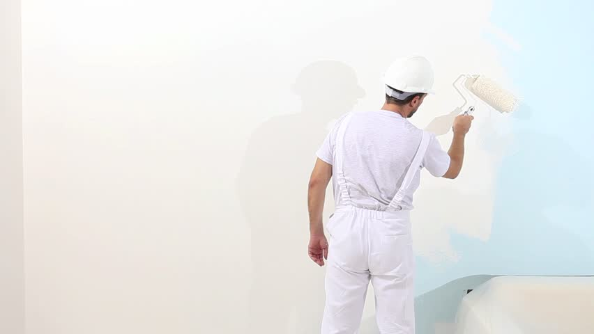 Painter Man At Work With Stock Footage Video 100