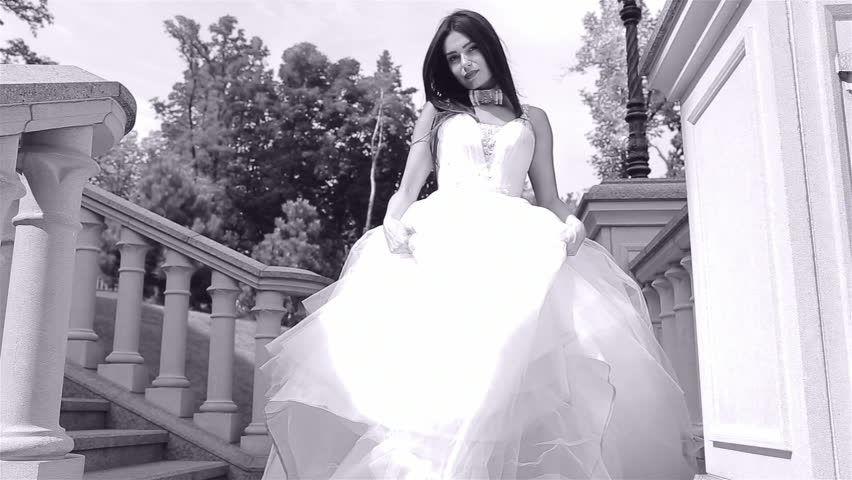 Beautiful Young Woman Sexy Brunette Bride In A Luxury White Wedding Dress  The Nature Castle Summer