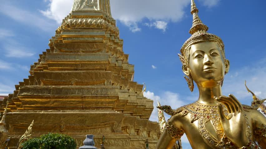 Buddha sculptures of mythological creature, half bird, half man/half woman at Wat Phra Kaeo and Grand Palace in Bangkok, Thailand.