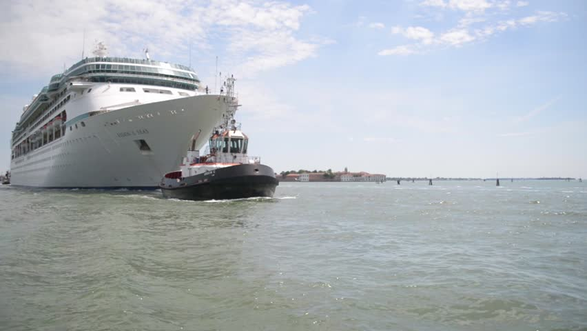 Passenger Air Boat Rocking On The Waves At Berth Stock Footage - Rocking cruise ship