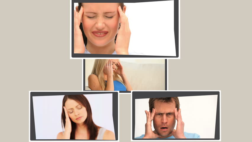 Montage of several persons having headache at home | Shutterstock HD Video #1162912