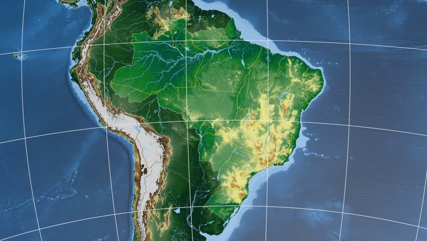 Rio De Janeiro Region Extruded On The Physical Map Of Brazil - Brazil physical map