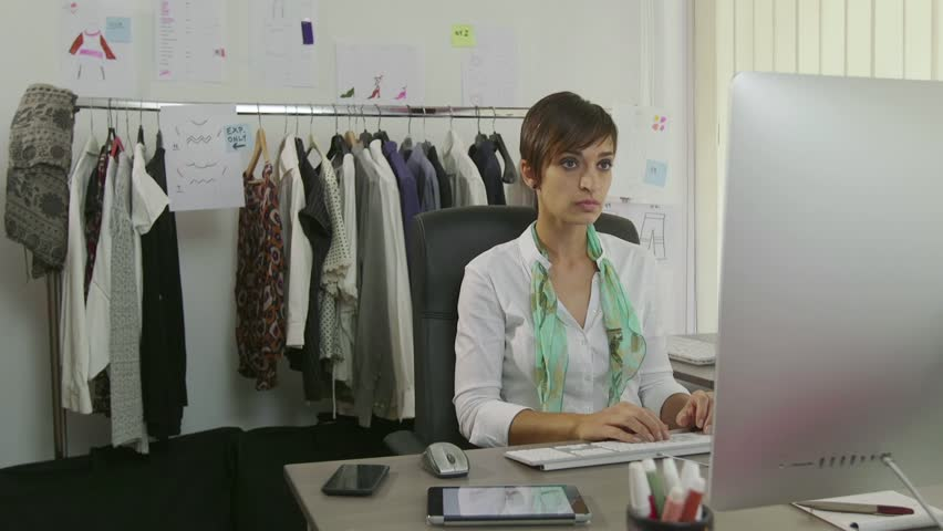 Businesswoman at work with computer and mobile phone, beautiful woman working as fashion designer, manager in studio. Secretary as worker in office using nail file during break for female beauty | Shutterstock HD Video #11636882