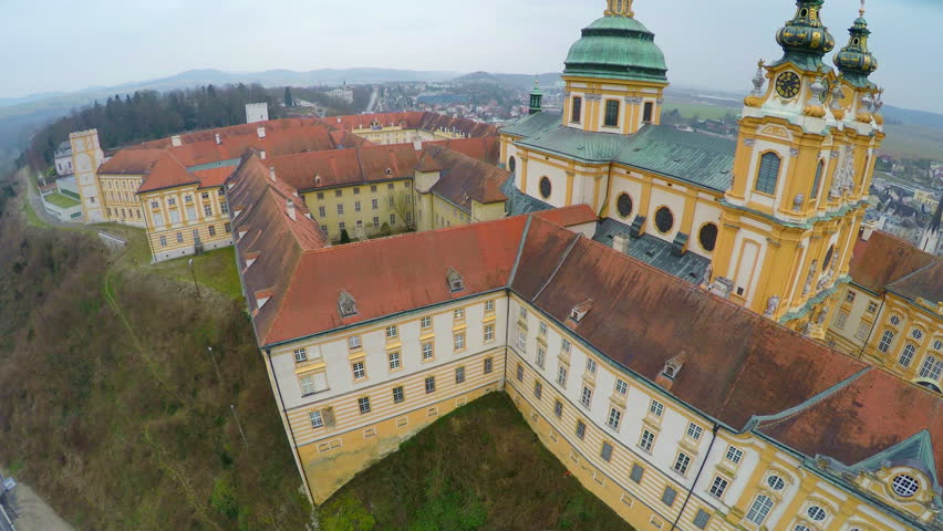 Roofs, inner yard of Melk Abbey, Austria. Aerial view of Baroque-style building