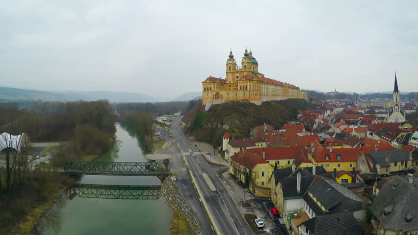 Aerial view of Melk Abbey, beautiful baroque architecture, old European city