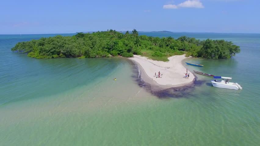 Aerial view of beautiful tropical island in northeastern Brazil.