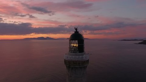 Stunning aerial shot of Ardnamurchan lighthouse on the coast of Scotland during a sunset