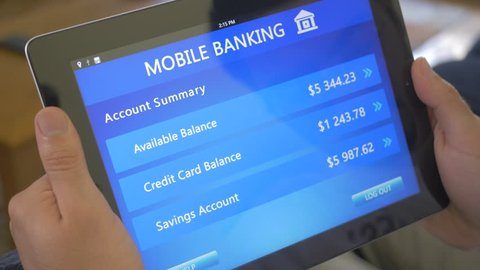 Online banking application demonstrated on a tablet device.