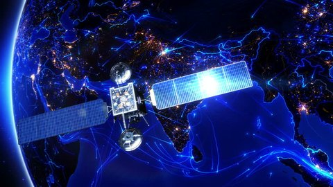 Satellite sending signals to Earth. India. Animation of the Earth with bright connections and city lights. Aerial, maritime, ground routes and country borders. Asia. 2 shots in 1 file. Blue.