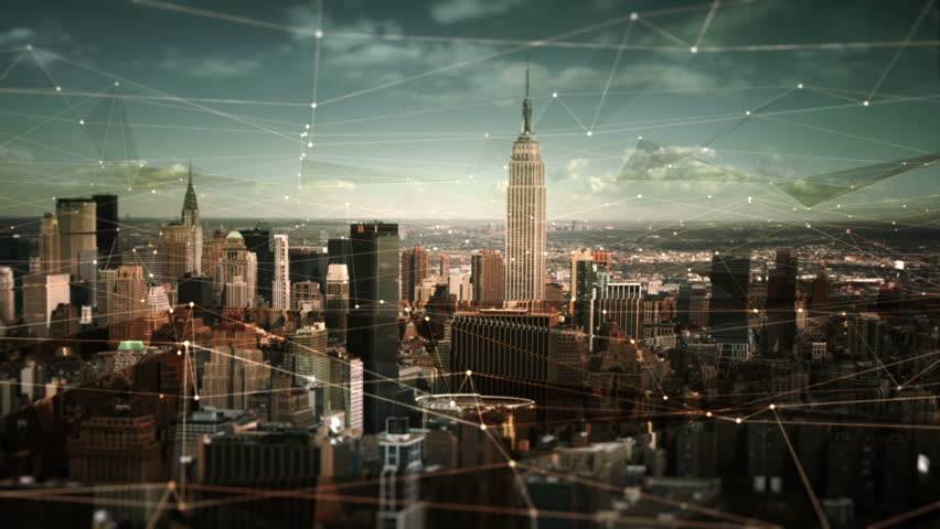 Aerial view of Manhattan Skyline with connections. Technology-Futuristic. Shot of midtown Manhattan at daylight. | Shutterstock Video #11728502