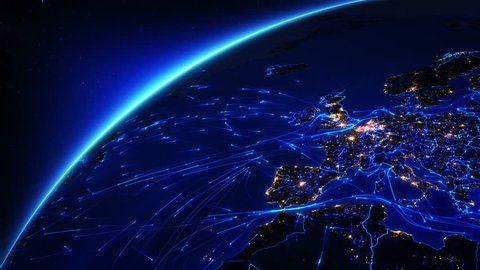 The Earth is connected by air, land and sea. Earth with bright connections and city lights. US, Europe and Asia. Aerial, maritime, ground routes and country borders. Blue. Images: http://www.nasa.gov
