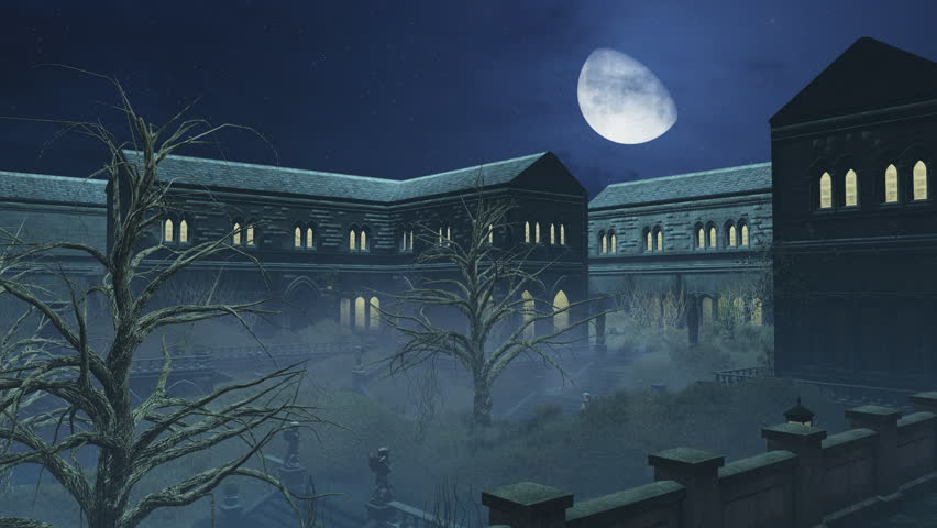 Cloudy Night Sky With Fantastic Big Moon Above Old Creepy Mansion Time Lapse Realistic