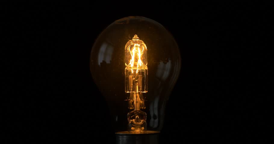 light bulb isolated filament glow slow flashing tungsten lightbulb
