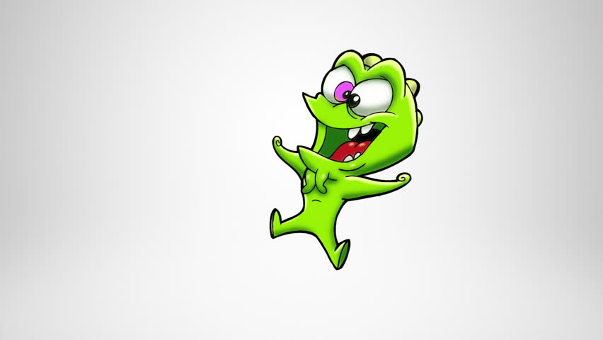 Happy monster celebrating. Dancing. Alpha Matte. Classic animated monster  dancing and jumping.