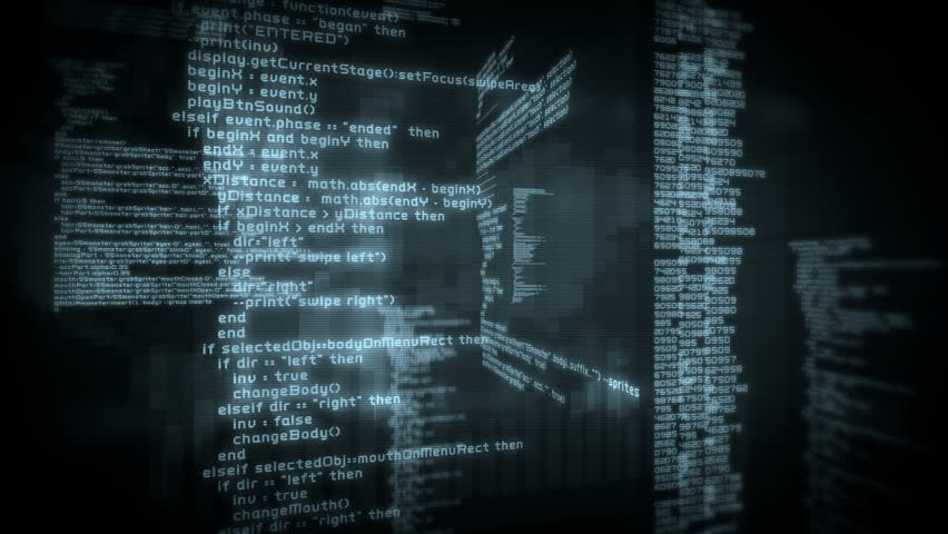 Program code moving on a computer screen. Loopable. Black. 2 videos in 1 file. More options in my portfolio.
