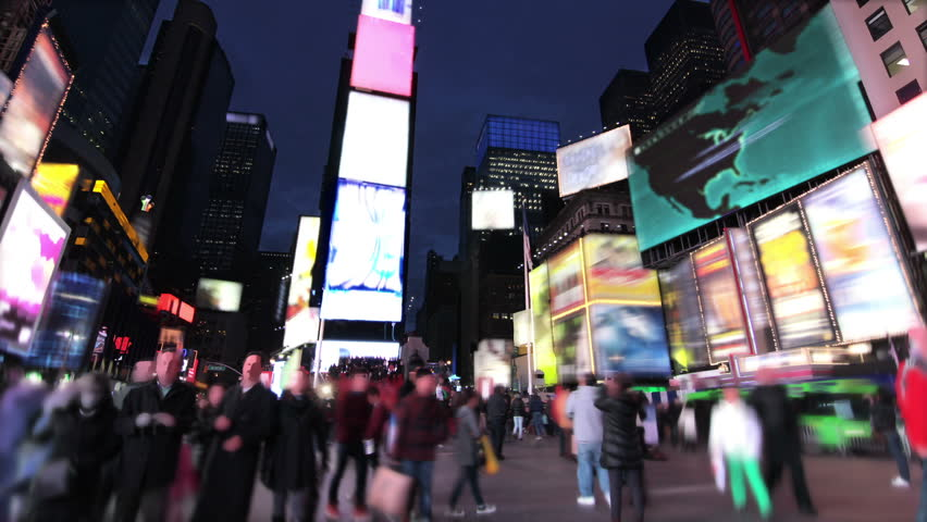 View from Times Square at night. Time lapsed. 2 videos in 1 file. & Times Square New York City Manhattan Background Out Of Focus ... azcodes.com