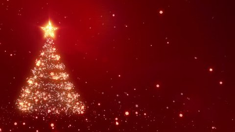 Christmas background with bright snow and space for your text. Red. Bright snowflakes falling forming a Christmas tree. Loopable from frame 391 to the end.
