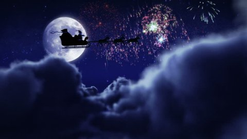 Santa flying with fireworks over full moon. 2 videos in 1 file. Santa Claus and his reindeer flying in the sky.